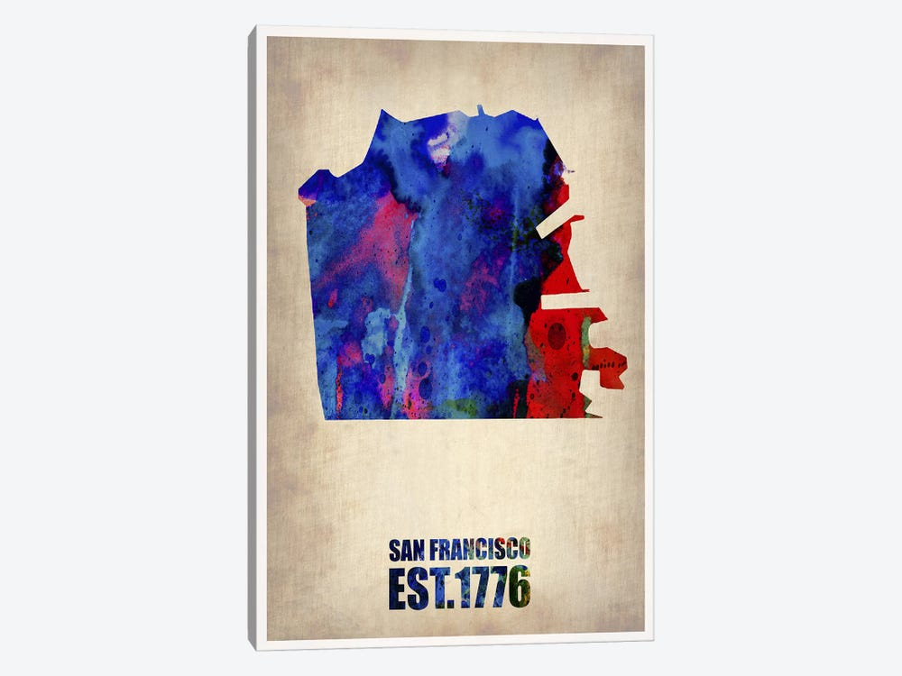 San Francisco Watercolor Map by Naxart 1-piece Canvas Artwork
