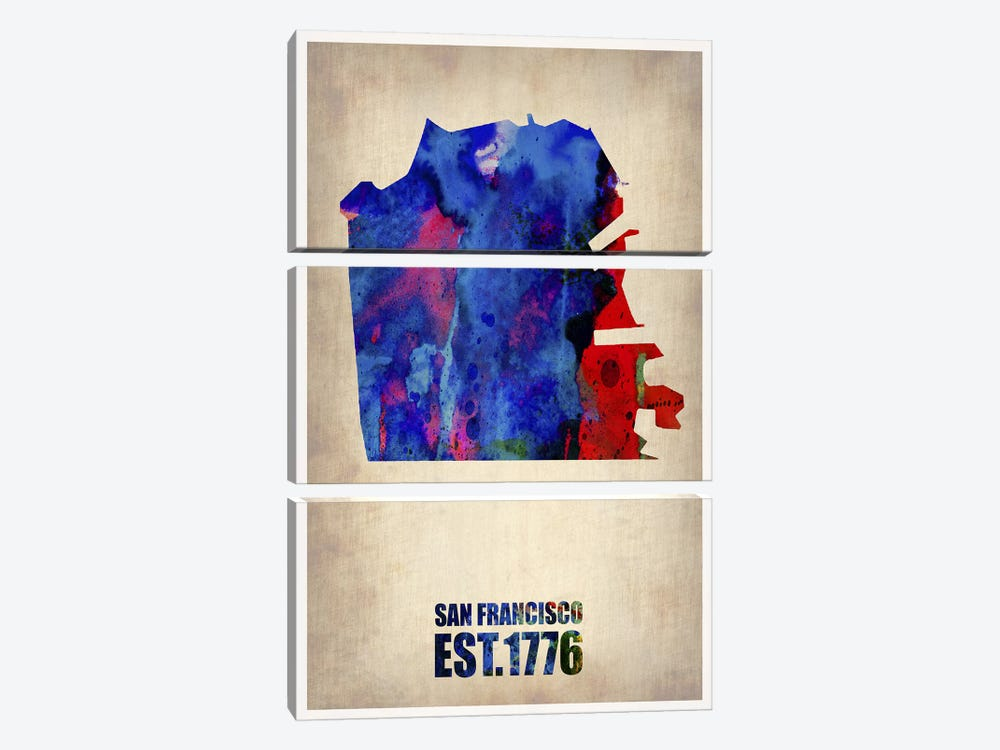 San Francisco Watercolor Map by Naxart 3-piece Canvas Wall Art