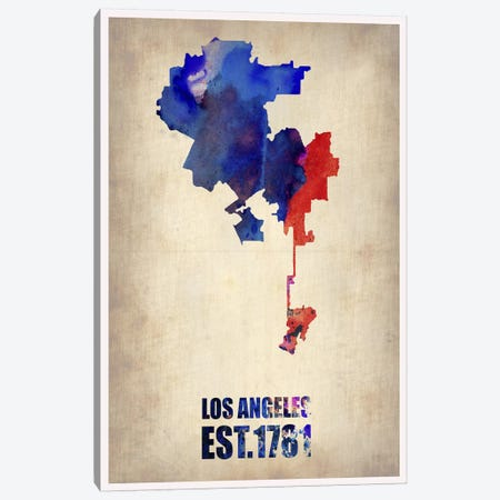 Los Angeles Watercolor Map I Canvas Print #NAX244} by Naxart Canvas Art
