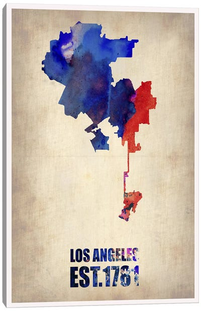 Los Angeles Watercolor Map I Canvas Art Print