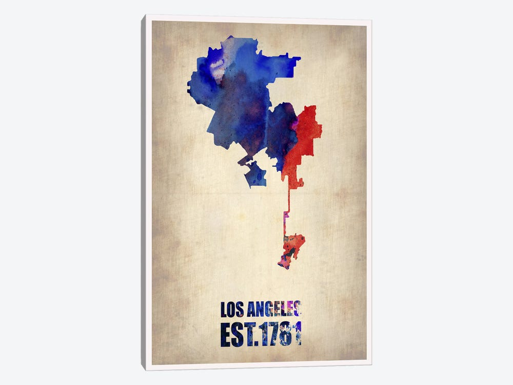 Los Angeles Watercolor Map I by Naxart 1-piece Canvas Print