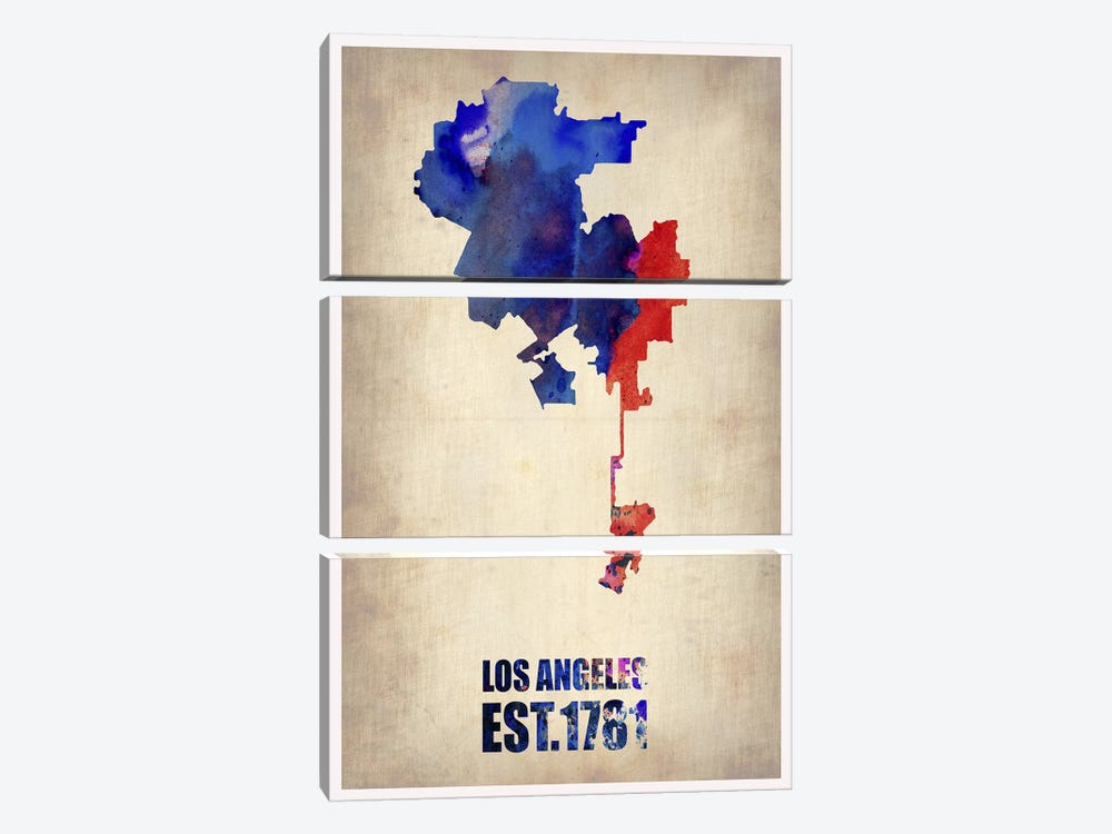Los Angeles Watercolor Map I by Naxart 3-piece Canvas Print