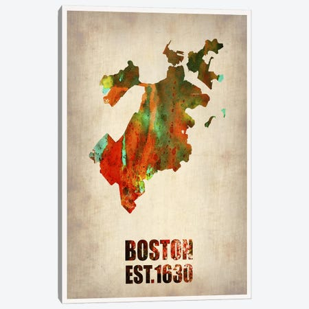 Boston Watercolor Map Canvas Print #NAX245} by Naxart Canvas Art