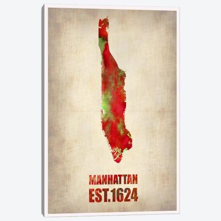 Manhattan Watercolor Map Canvas Print #NAX246} by Naxart Canvas Art