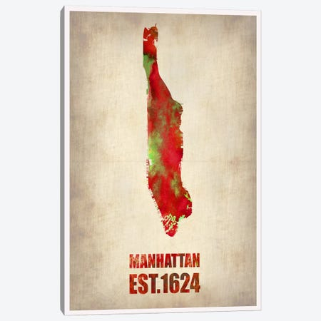 Manhattan Watercolor Map Canvas Print #NAX246} by Naxart Canvas Art