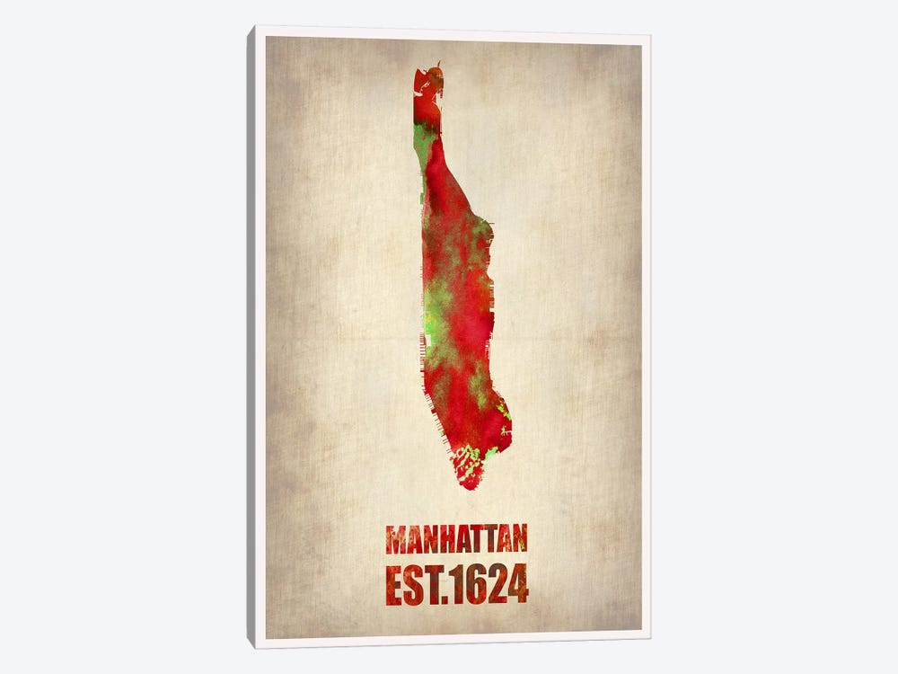 Manhattan Watercolor Map by Naxart 1-piece Canvas Art Print