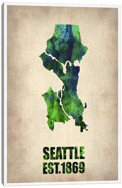 Seattle Watercolor Map Canvas Art Print