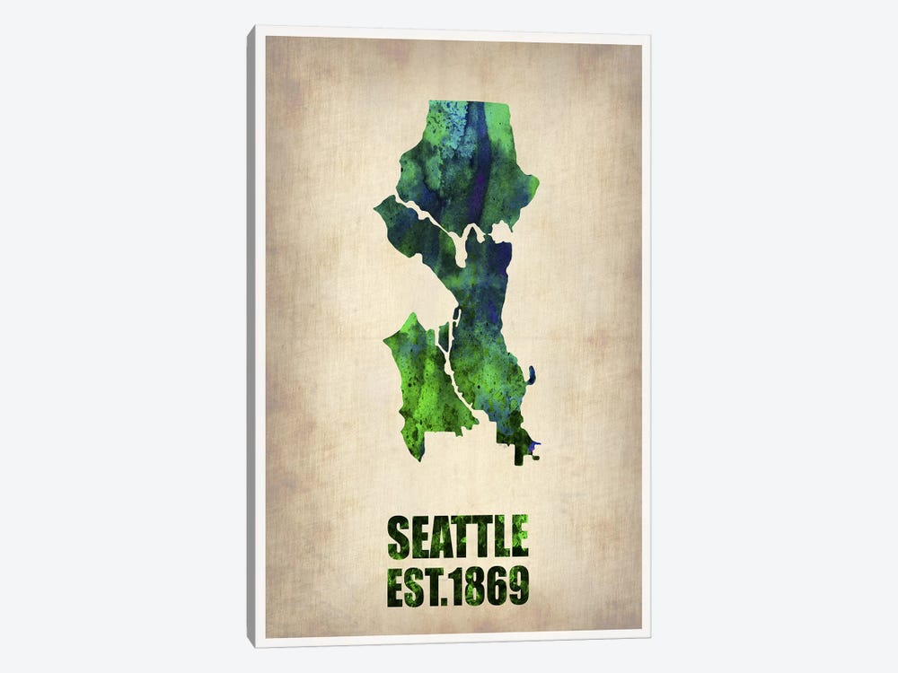 Seattle Watercolor Map by Naxart 1-piece Canvas Wall Art
