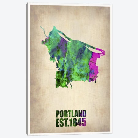 Portland Watercolor Map Canvas Print #NAX248} by Naxart Canvas Art Print