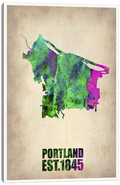 Portland Watercolor Map Canvas Art Print