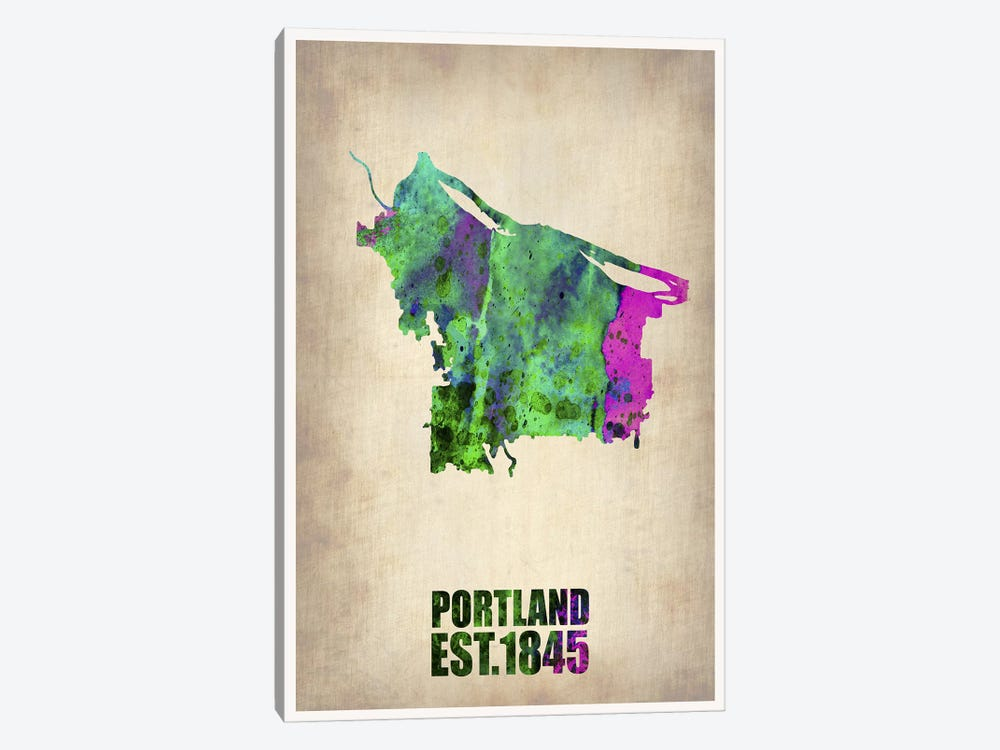 Portland Watercolor Map by Naxart 1-piece Canvas Art Print