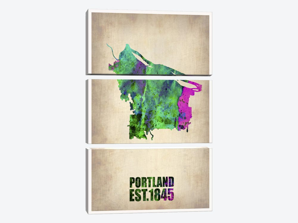 Portland Watercolor Map by Naxart 3-piece Canvas Print