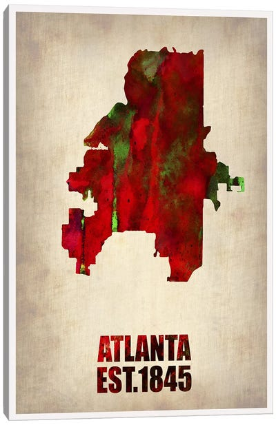 Atlanta Watercolor Map Canvas Art Print