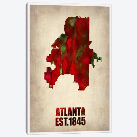 Atlanta Watercolor Map Canvas Print #NAX249} by Naxart Canvas Print