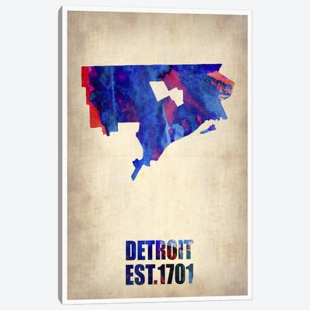 Detroit Watercolor Map Canvas Print #NAX250} by Naxart Canvas Art