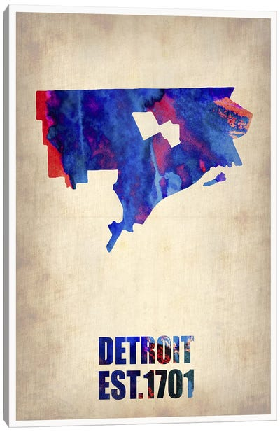 Detroit Watercolor Map Canvas Art Print