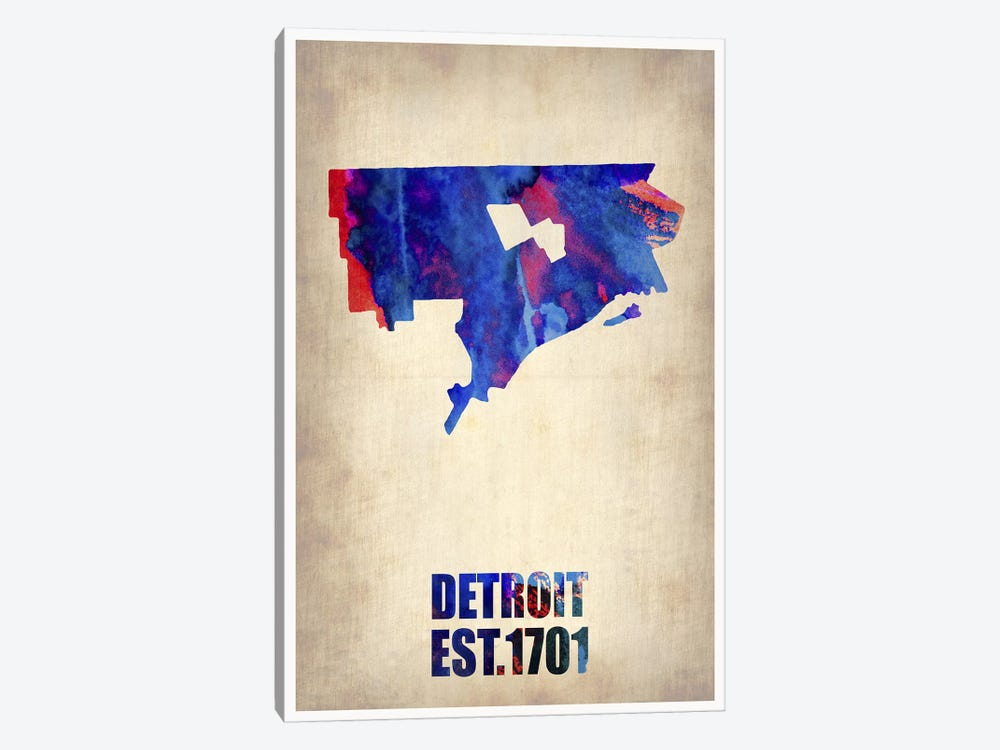 Detroit Watercolor Map by Naxart 1-piece Canvas Wall Art