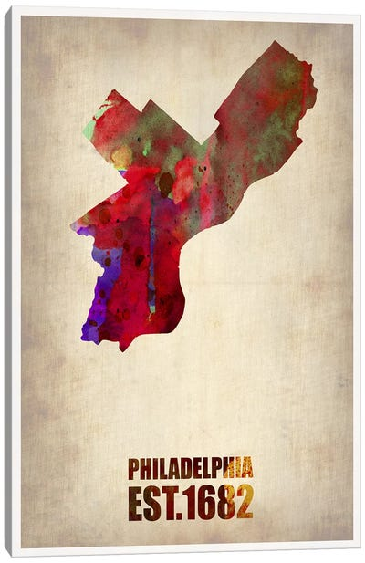 Philadelphia Watercolor Map Canvas Art Print