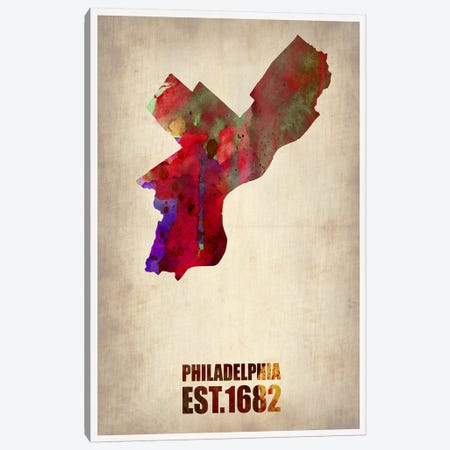 Philadelphia Watercolor Map Canvas Print #NAX251} by Naxart Canvas Wall Art