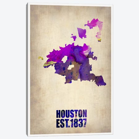 Houston Watercolor Map Canvas Print #NAX252} by Naxart Canvas Artwork
