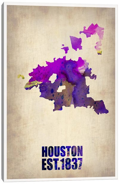 Huston Watercolor Map Canvas Art Print