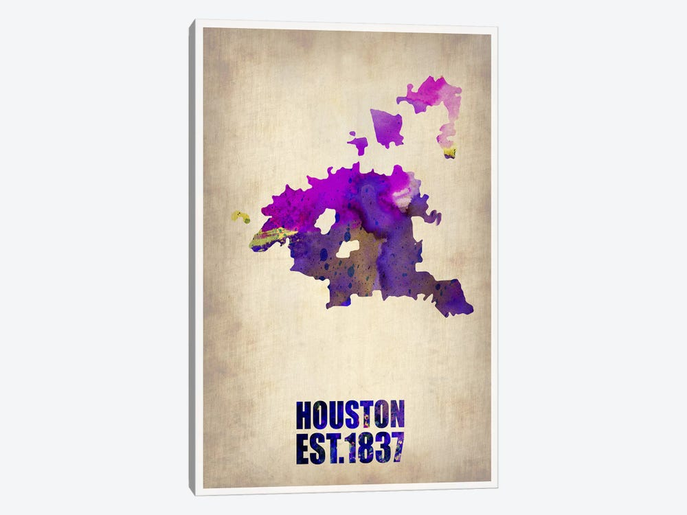 Houston Watercolor Map by Naxart 1-piece Canvas Wall Art