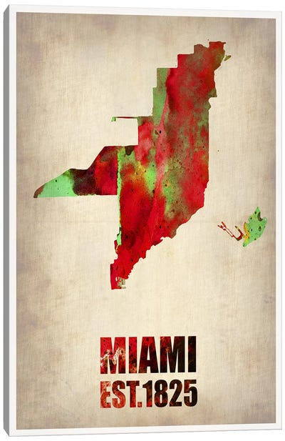 Miami Watercolor Map Canvas Print #NAX253