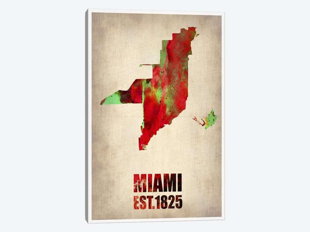 Miami Watercolor Map by Naxart 1-piece Canvas Art Print