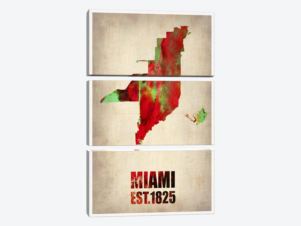 Miami Watercolor Map by Naxart 3-piece Canvas Art Print