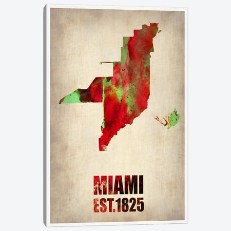 Miami Watercolor Map Canvas Print #NAX253} by Naxart Canvas Wall Art