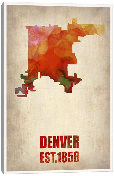 Denver Watercolor Map Canvas Print #NAX254