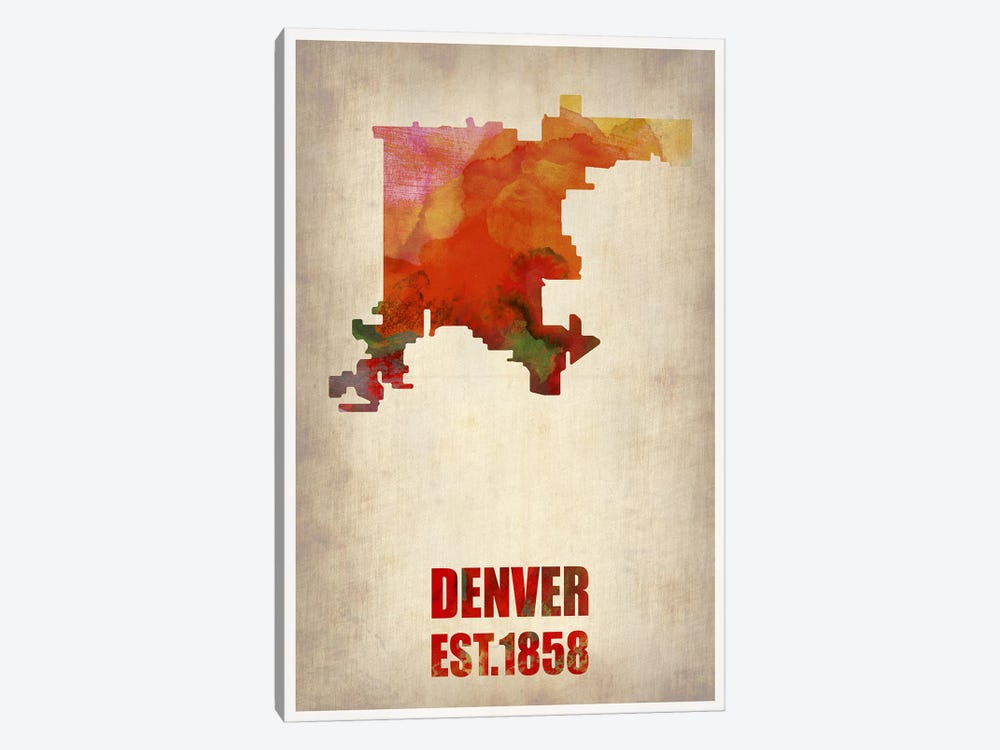 Denver Watercolor Map 1-piece Canvas Artwork