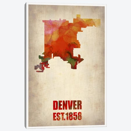 Denver Watercolor Map Canvas Print #NAX254} by Naxart Canvas Print