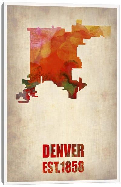 Denver Watercolor Map Canvas Art Print