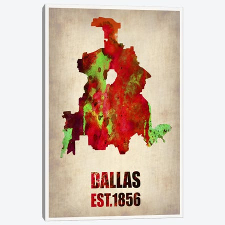 Dallas Watercolor Map Canvas Print #NAX255} by Naxart Canvas Art Print