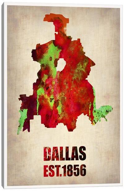 Dallas Watercolor Map Canvas Print #NAX255