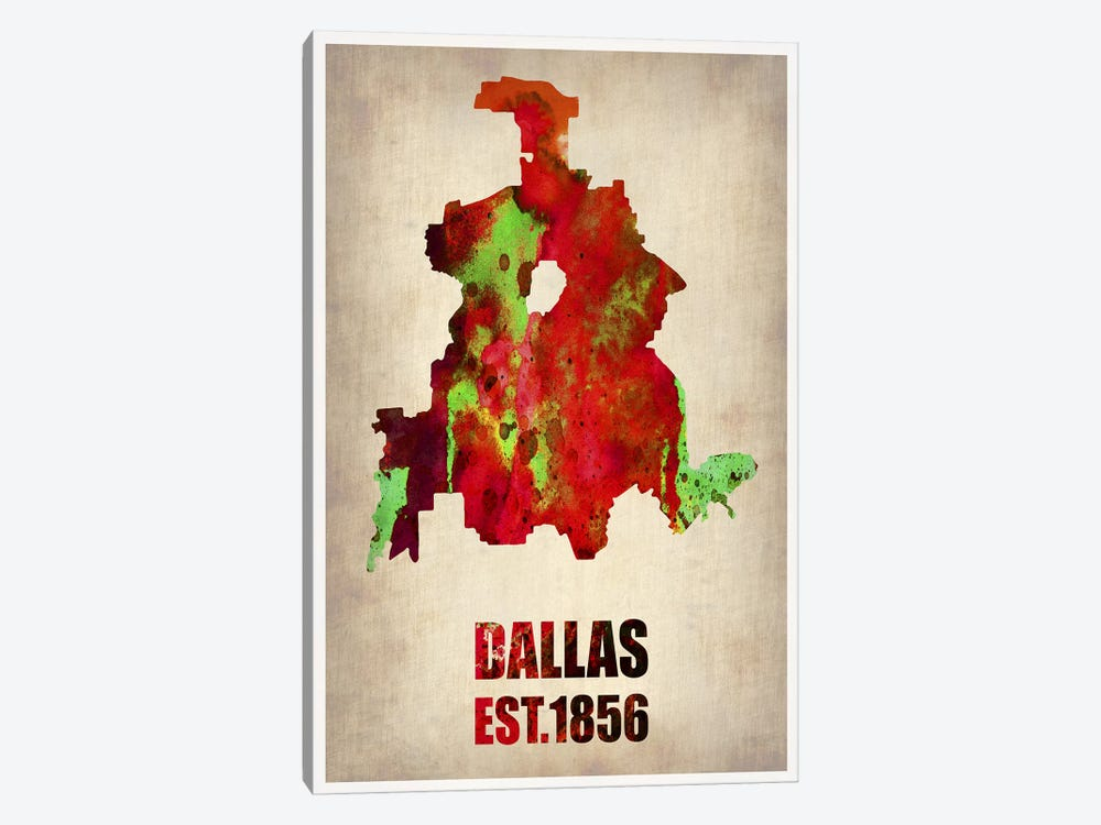 Dallas Watercolor Map by Naxart 1-piece Art Print