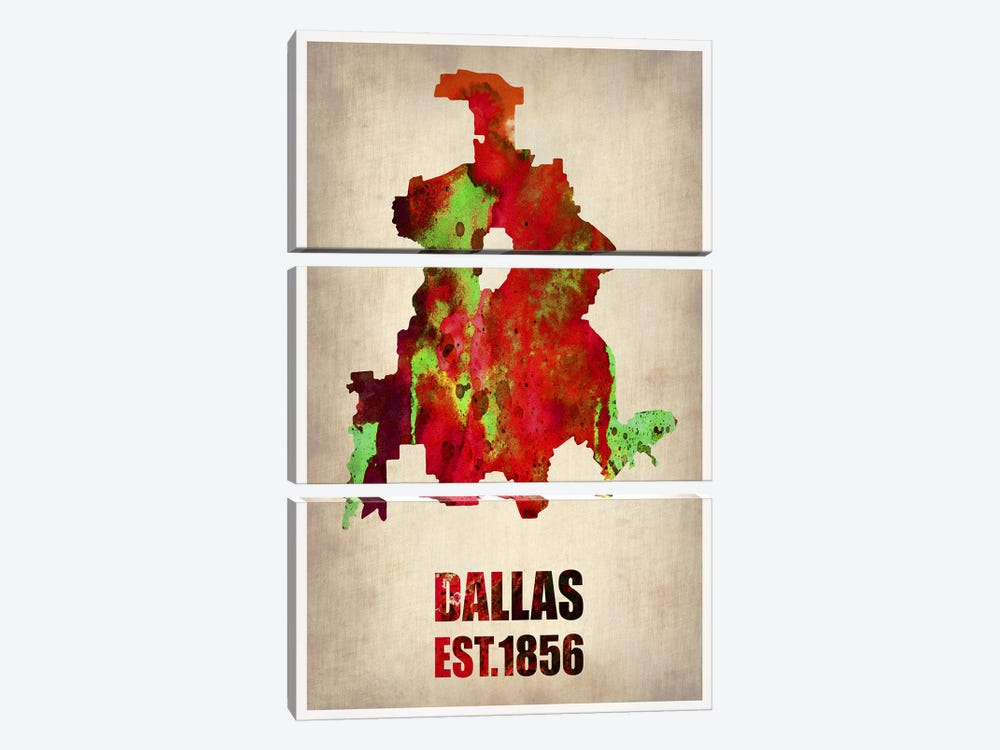 Dallas Watercolor Map by Naxart 3-piece Canvas Art Print