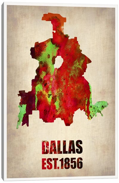 Dallas Watercolor Map Canvas Art Print