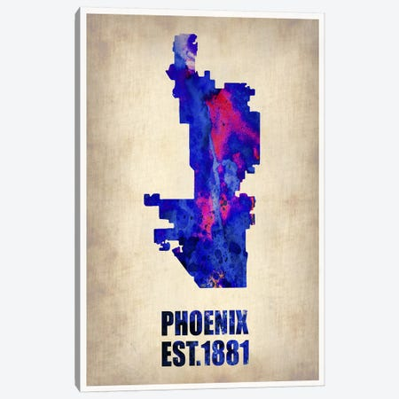 Phoenix Watercolor Map Canvas Print #NAX256} by Naxart Canvas Print