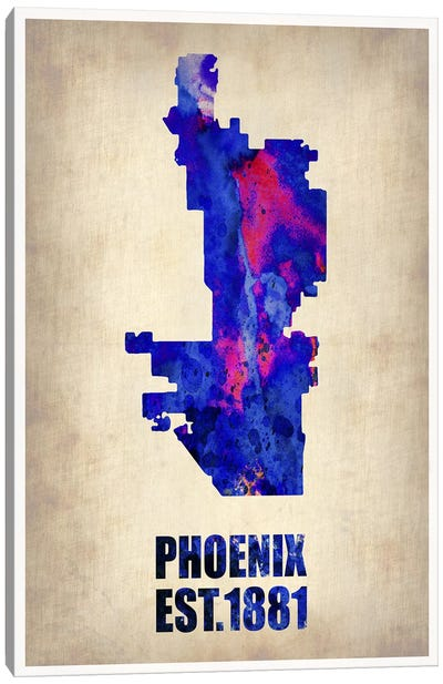 Phoenix Watercolor Map Canvas Art Print
