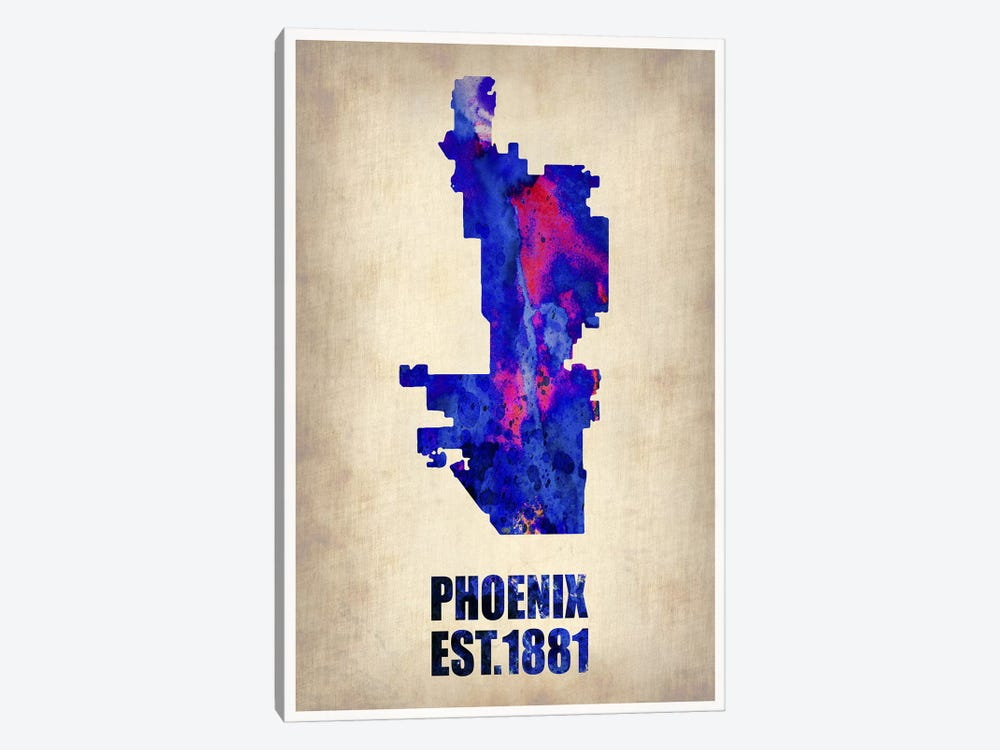 Phoenix Watercolor Map by Naxart 1-piece Canvas Wall Art