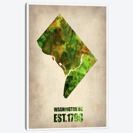 Washington,  D.C. Watercolor Map Canvas Print #NAX257} by Naxart Canvas Print