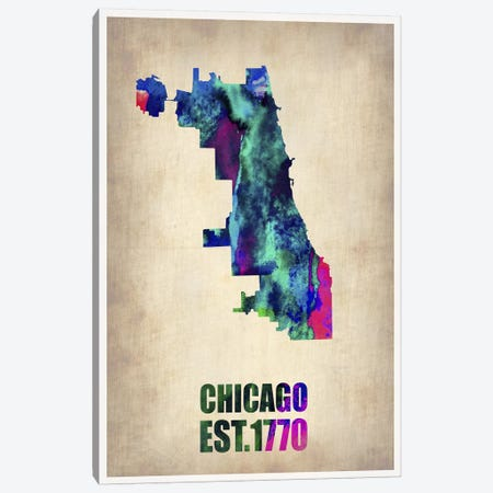 Chicago Watercolor Map Canvas Print #NAX258} by Naxart Canvas Artwork
