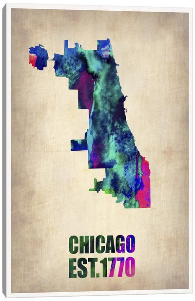 Chicago Watercolor Map Canvas Art Print