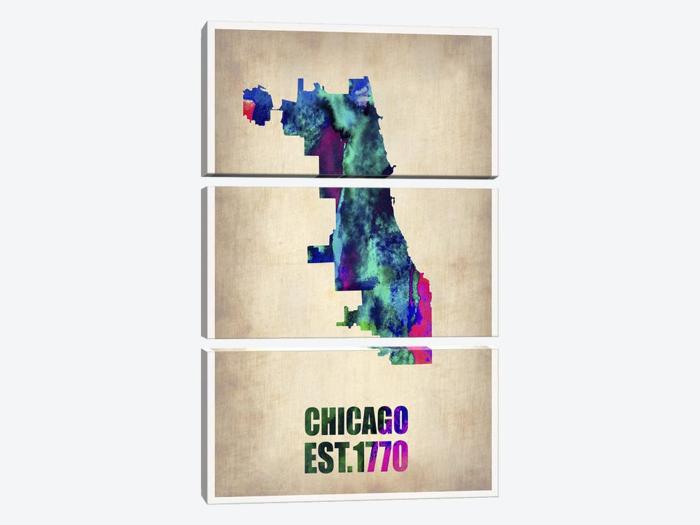 Chicago Watercolor Map by Naxart 3-piece Canvas Wall Art