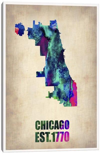 Chicago Watercolor Map Canvas Art Print