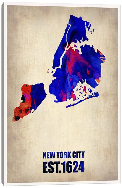 New York City Watercolor Map I Canvas Art Print