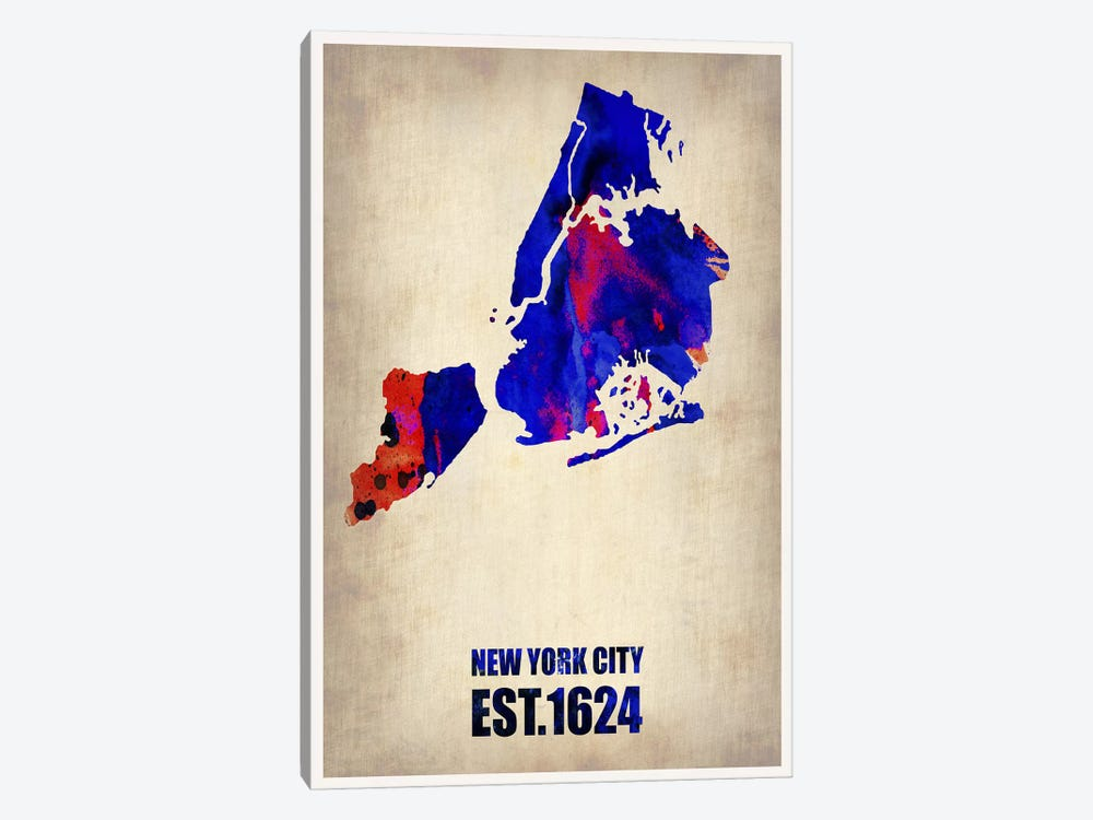 New York City Watercolor Map I by Naxart 1-piece Canvas Print