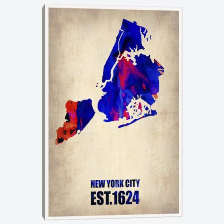 New York City Watercolor Map I Canvas Print #NAX259} by Naxart Canvas Wall Art